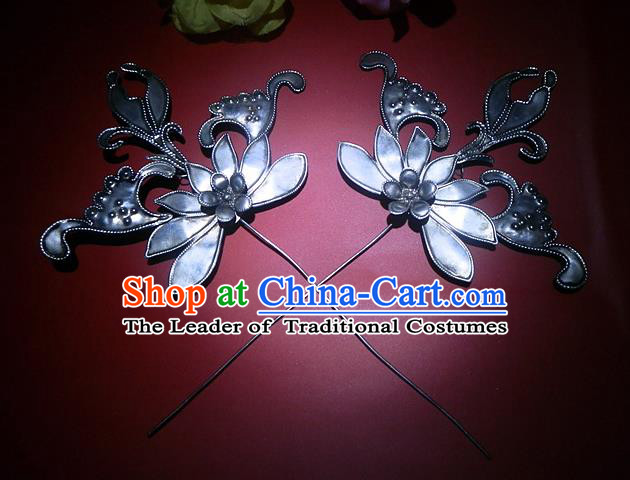 Traditional Handmade Chinese Ancient Classical Hair Accessories Barrettes Manchu Imperial Princess Hairpins Hanfu Two-piece Lotus Step Shake Hair Ornament for Women