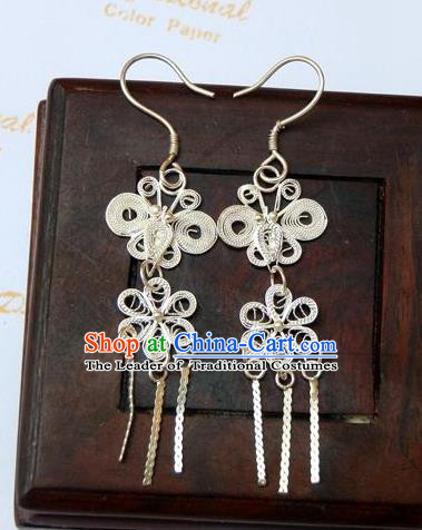 Traditional Handmade Chinese Ancient Classical Earrings Accessories Pure Sliver Tassel Flowers Eardrop for Women