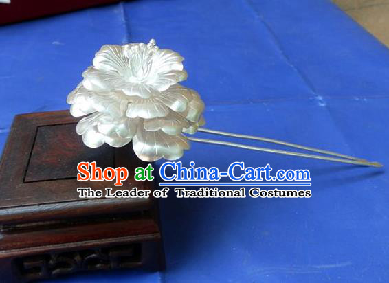 Traditional Handmade Chinese Ancient Classical Hair Accessories Barrettes Pure Sliver Peony Hairpins, Step Shake Hair Sticks Hair Jewellery for Women