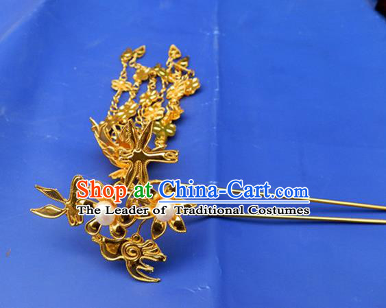 Traditional Handmade Chinese Ancient Classical Hair Accessories Barrettes Hanfu Tassel Hairpins, Golden Step Shake Hair Sticks Hair Jewellery for Women