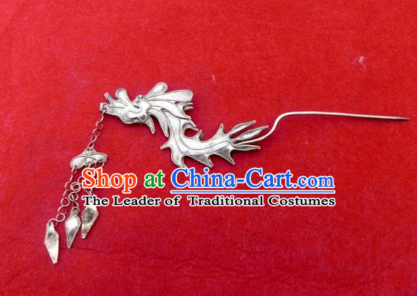 Traditional Handmade Chinese Ancient Classical Hair Accessories Barrettes Hanfu Hairpins, Imperial Dragon Head Step Shake Hair Sticks Hair Jewellery for Women