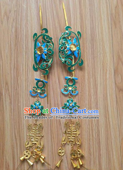 Traditional Handmade Chinese Miao Nationality Ancient Classical Dragon Head Earrings Accessories Pure Sliver Blueing Eardrop for Women