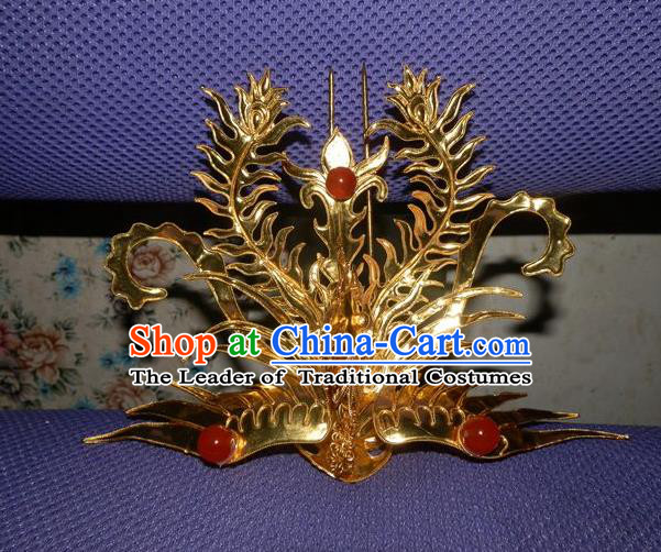Traditional Handmade Chinese Ancient Classical Hair Accessories Barrettes Phoenix Crown Golden Hairpins, Step Shake Hair Sticks Hair Jewellery for Women