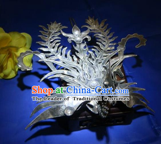 Traditional Handmade Chinese Ancient Classical Hair Accessories Barrettes Phoenix Crown Hairpins, Step Shake Hair Sticks Hair Jewellery for Women