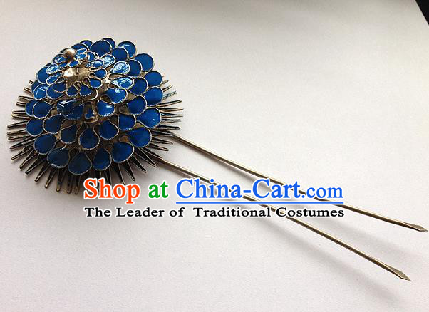 Traditional Handmade Chinese Ancient Classical Hair Accessories Barrettes Blueing Flower Hairpins, Hanfu Step Shake Hair Sticks Hair Jewellery for Women