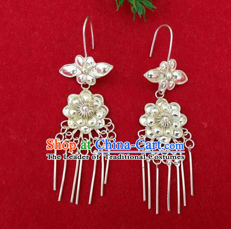 Traditional Handmade Chinese Ancient Classical Earrings Accessories Pure Sliver Peony Tassel Peacock Eardrop for Women