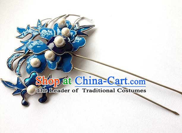 Traditional Handmade Chinese Ancient Classical Hair Jewelry Accessories, China Hanfu Hairfork Hairpins Imperial Princess Blueing Barrettes Hair Stick for Women