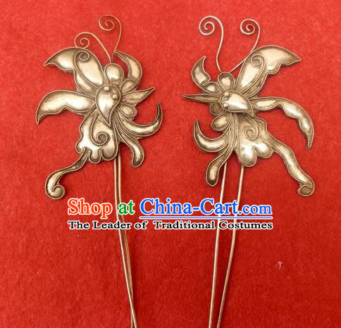 Traditional Handmade Chinese Ancient Classical Hair Jewellery Accessories Butterfly Barrettes, Ming Dynasty Wedding Hair Sticks Hair Fascinators Hairpins for Women