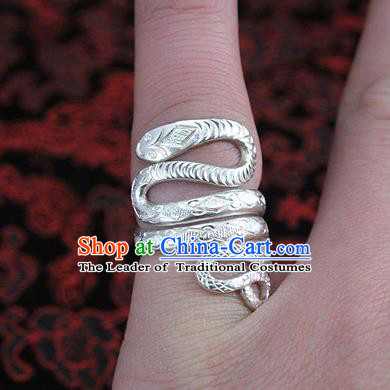 Traditional Chinese Miao Nationality Accessories Rings, Hmong Female Ethnic Pure Sliver Snake Finger Ring for Women