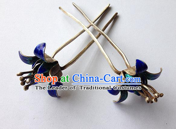 Traditional Handmade Chinese Ancient Classical Hair Accessories Barrettes, Bride Wedding Step Shake Hair Sticks Blueing Hairpins for Women