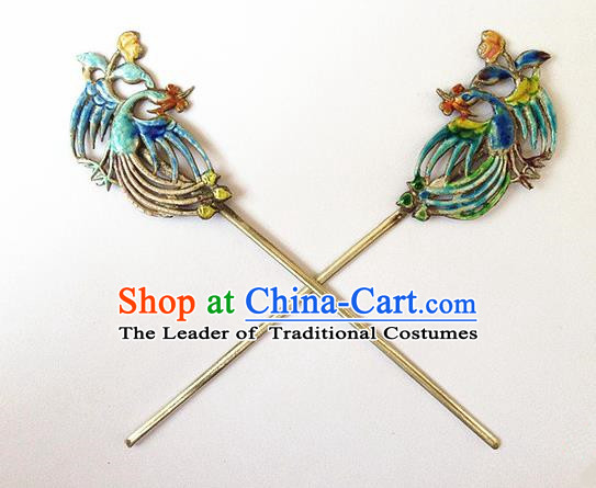 Traditional Handmade Chinese Ancient Classical Hair Jewellery Accessories Barrettes, Blueing Peacock Step Shake Hair Sticks Hairpins for Women