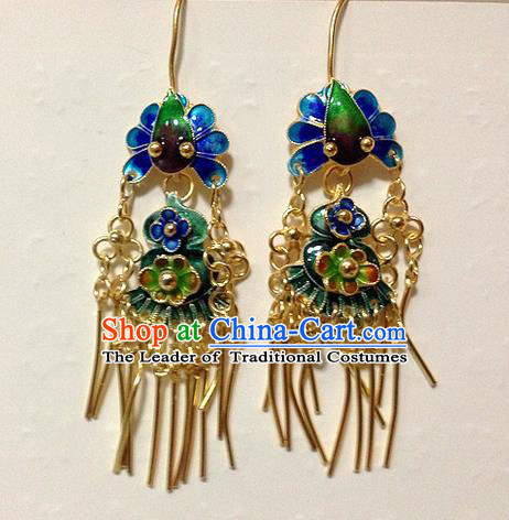 Traditional Handmade Chinese Ancient Classical Jewellery Accessories Earrings, Ming Dynasty Wedding Pure Sliver Blueing Eardrop for Women