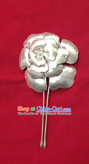 Traditional Handmade Chinese Ancient Classical Hair Accessories Barrettes Peony Step Shake Hair Sticks Pure Sliver Flowers Hairpins for Women