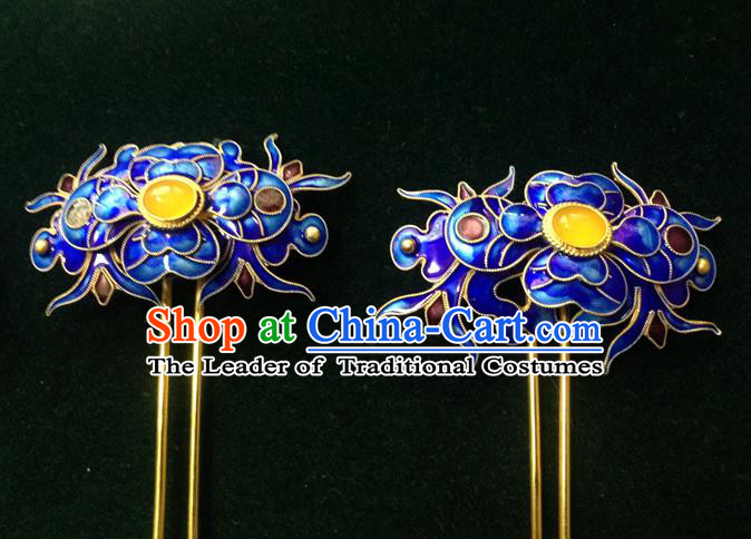 Traditional Handmade Chinese Ancient Classical Hair Accessories Barrettes Cloisonn Hairpins, Step Shake Hair Sticks for Women