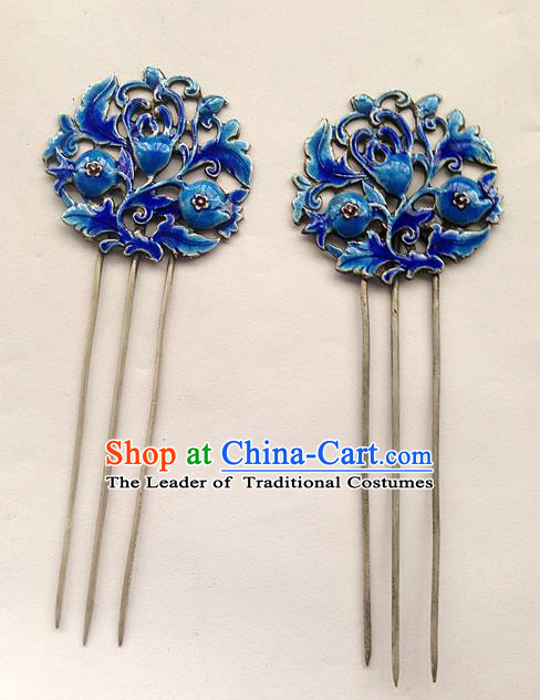 Traditional Handmade Chinese Ancient Classical Hair Accessories Barrettes Hairpins, Pure Sliver Blueing Step Shake Hair Sticks for Women