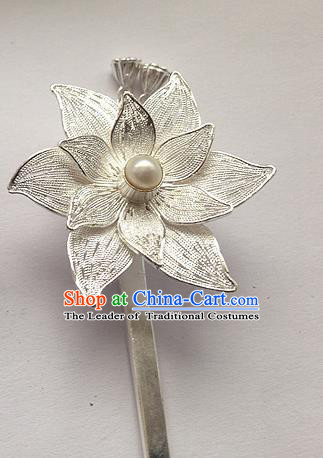 Traditional Handmade Chinese Ancient Classical Hair Accessories Barrettes Hairpins, Pure Sliver Pearl Lotus Step Shake Hair Sticks for Women