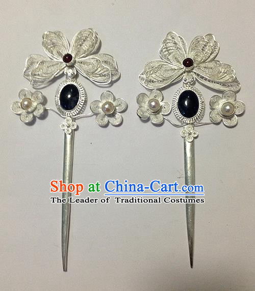 Traditional Handmade Chinese Ancient Classical Hair Accessories Barrettes Hairpins, Pure Sliver Step Shake Hair Combs for Women