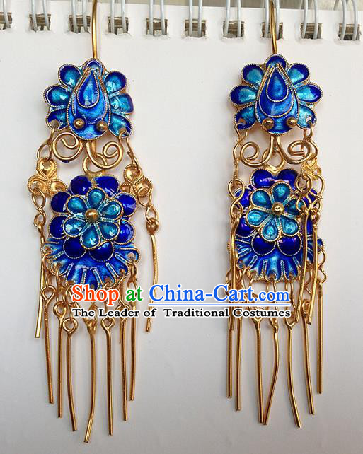 Traditional Handmade Chinese Ancient Classical Jewellery Accessories Blueing Earrings, Ming Dynasty Wedding Gilding Tassel Eardrop for Women