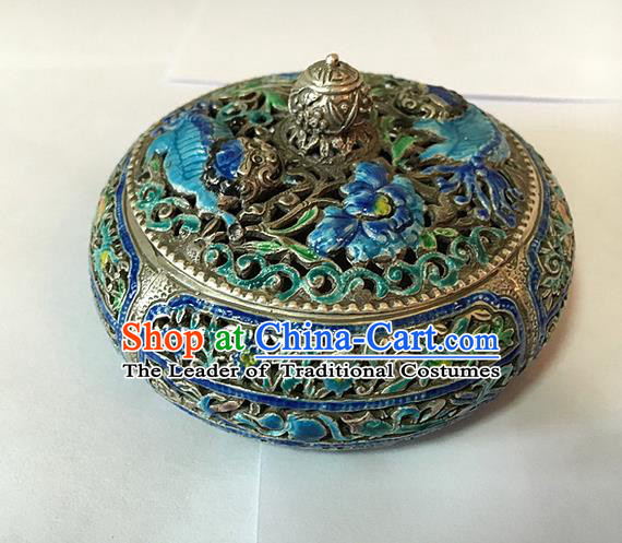 Traditional Handmade Chinese Ancient Classical Jewelty Accessories Blueing Censer, Pure Sliver Incense Burner for Women