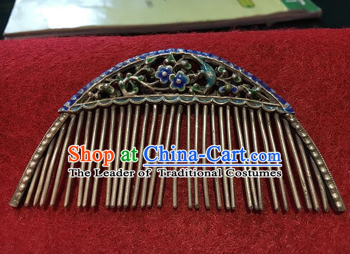 Traditional Handmade Chinese Ancient Classical Hair Jewellery Accessories Barrettes Blueing Hairpins, Princess Flat-square Hair Combs for Women