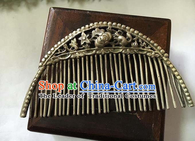 Traditional Handmade Chinese Ancient Classical Hair Jewellery Accessories Barrettes Hairpins, Princess Flat-square Hair Combs for Women