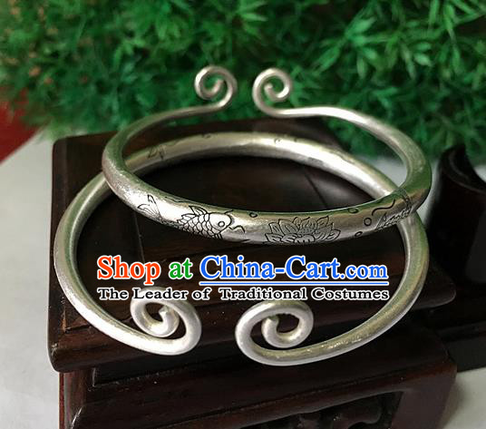 Traditional Chinese Miao Nationality Accessories Bracelet, Hmong Female Ethnic Pure Sliver Inhibiting Magic Phrase Bangle for Women