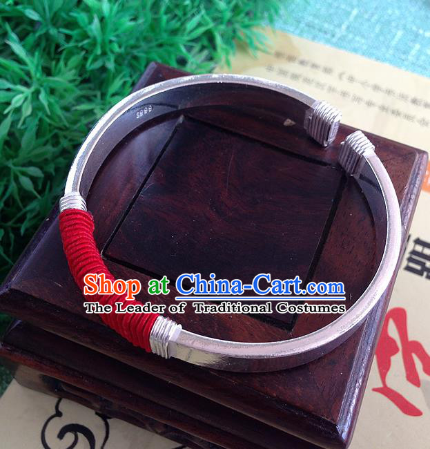 Traditional Chinese Miao Nationality Accessories Bracelet, Hmong Female Ethnic Pure Sliver Phoenix Bangle for Women