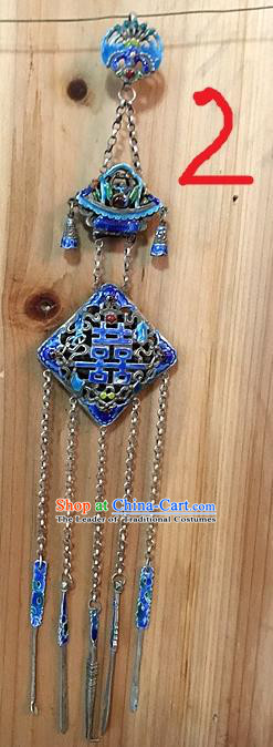 Traditional Handmade Chinese Ancient Classical Accessories Pure Sliver Blueing Pendant Tassel Waist Pendent Hi-word Character Sweater Chain for Women