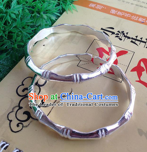 Traditional Chinese Miao Nationality Accessories Bracelet, Hmong Female Ethnic Pure Sliver Bamboo Bangle for Women
