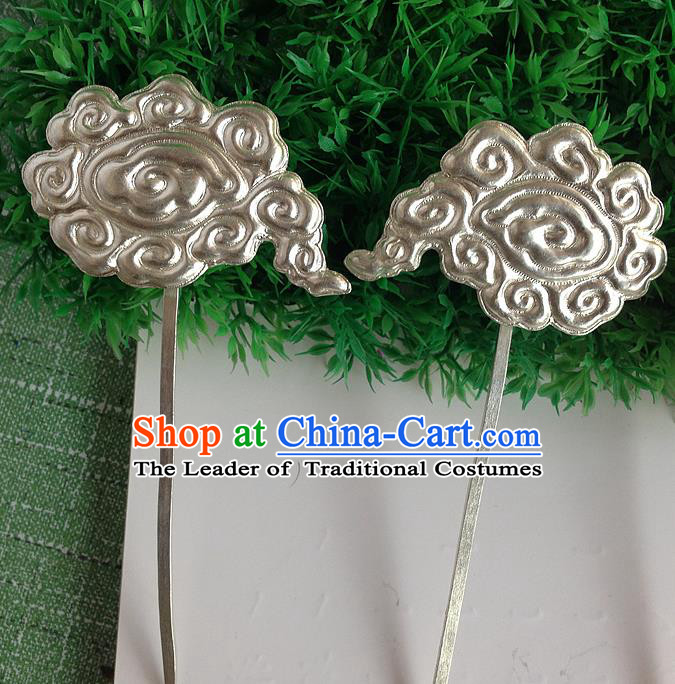 Traditional Handmade Chinese Ancient Classical Hair Accessories Barrettes, Step Shake Hair Sticks Auspicious Clouds Hairpins for Women