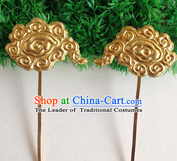 Traditional Handmade Chinese Ancient Classical Hair Accessories Barrettes, Step Shake Hair Sticks Auspicious Clouds Gilding Hairpins for Women