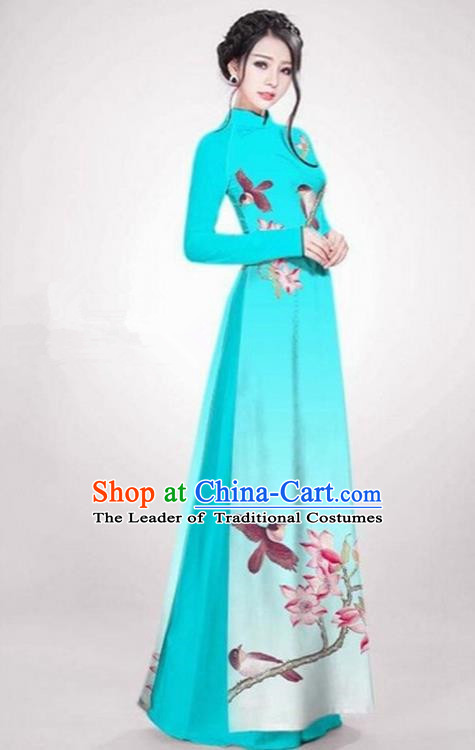 Top Grade Asian Vietnamese Traditional Dress, Vietnam Ao Dai Dress Blue Cheongsam Clothing for Women