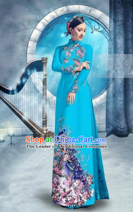 Top Grade Asian Vietnamese Traditional Dress, Vietnam Bride Ao Dai Dress, Princess Wedding Printing Peacock Blue Cheongsam Clothing for Women
