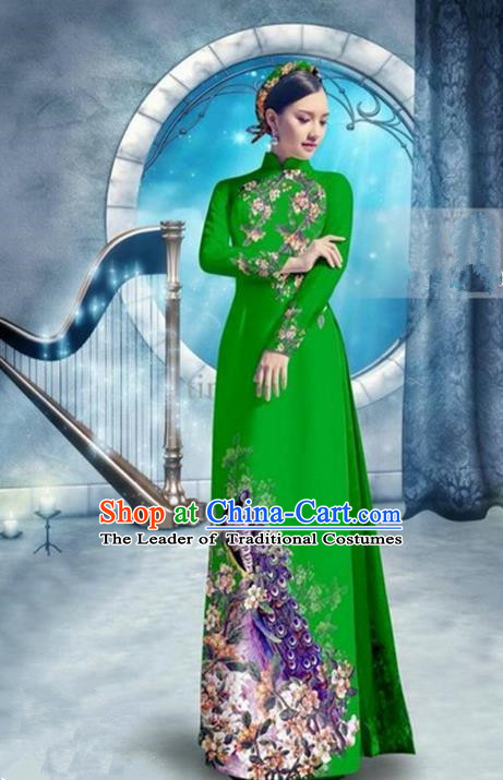 Top Grade Asian Vietnamese Traditional Dress, Vietnam Bride Ao Dai Dress, Princess Wedding Printing Peacock Green Cheongsam Clothing for Women