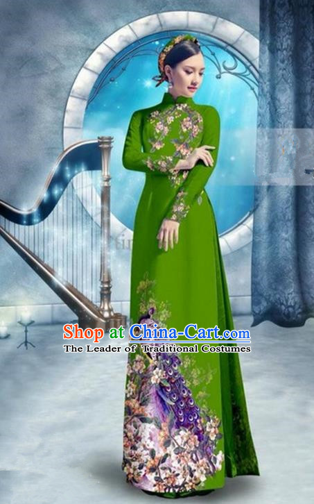 Top Grade Asian Vietnamese Traditional Dress, Vietnam Bride Ao Dai Dress, Princess Wedding Printing Peacock Deep Green Cheongsam Clothing for Women