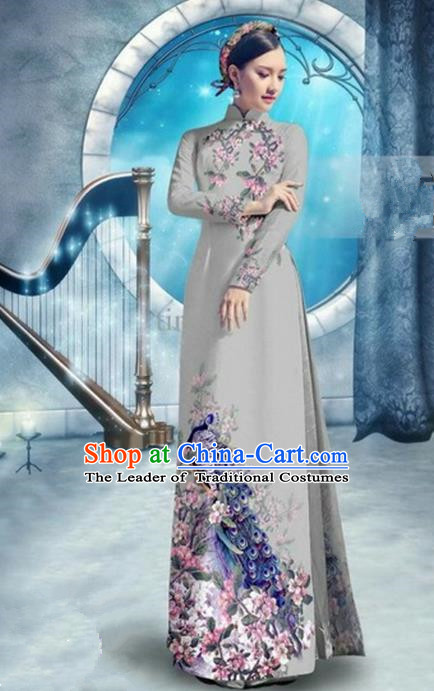 Top Grade Asian Vietnamese Traditional Dress, Vietnam Bride Ao Dai Dress, Princess Wedding Printing Peacock Grey Cheongsam Clothing for Women