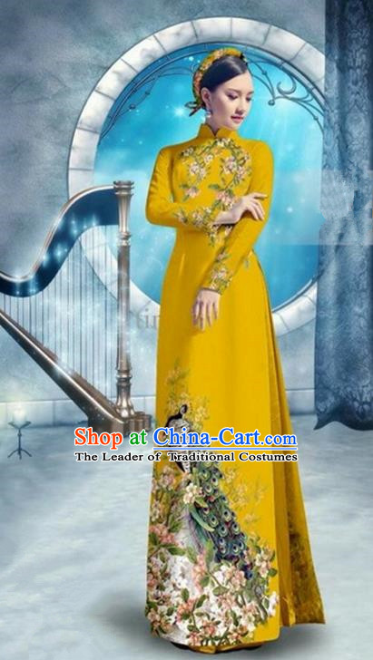 Top Grade Asian Vietnamese Traditional Dress, Vietnam Bride Ao Dai Dress, Princess Wedding Printing Peacock Yellow Cheongsam Clothing for Women
