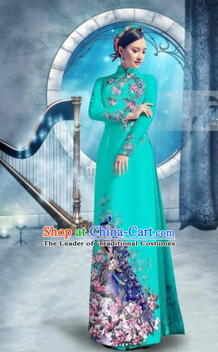 Top Grade Asian Vietnamese Traditional Dress, Vietnam Bride Ao Dai Dress, Princess Wedding Printing Peacock Fluorescent Blue Cheongsam Clothing for Women