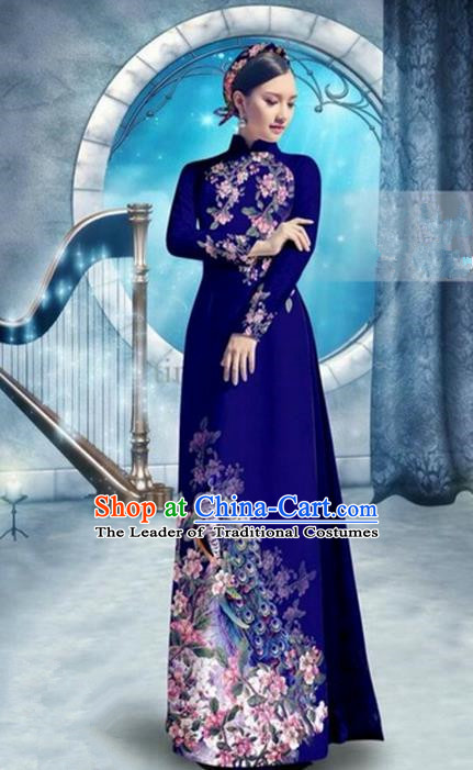 Top Grade Asian Vietnamese Traditional Dress, Vietnam Bride Ao Dai Dress, Princess Wedding Printing Peacock Royalblue Cheongsam Clothing for Women