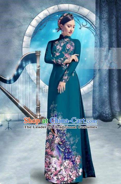 Top Grade Asian Vietnamese Traditional Dress, Vietnam Bride Ao Dai Dress, Princess Wedding Printing Peacock Blackish Green Cheongsam Clothing for Women