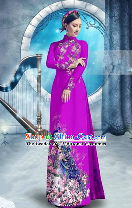 Top Grade Asian Vietnamese Traditional Dress, Vietnam Bride Ao Dai Dress, Princess Wedding Printing Peacock Rose Cheongsam Clothing for Women