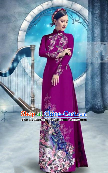 Top Grade Asian Vietnamese Traditional Dress, Vietnam Bride Ao Dai Dress, Princess Wedding Printing Peacock Wine Red Cheongsam Clothing for Women