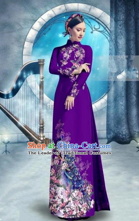 Top Grade Asian Vietnamese Traditional Dress, Vietnam Bride Ao Dai Dress, Princess Wedding Printing Peacock Purple Cheongsam Clothing for Women