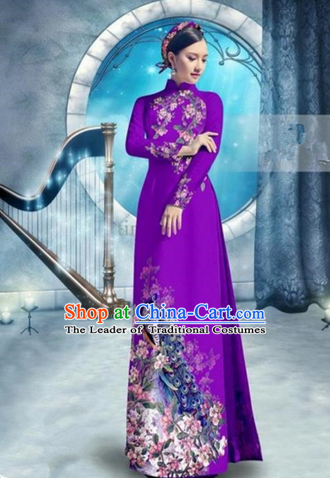 Top Grade Asian Vietnamese Traditional Dress, Vietnam Bride Ao Dai Dress, Princess Wedding Printing Peacock Light Purple Cheongsam Clothing for Women