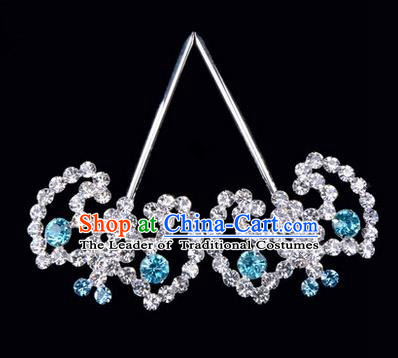 Chinese Ancient Peking Opera Hair Accessories Young Lady Bat Headwear, Traditional Chinese Beijing Opera Head Ornaments Hua Tan Blue Crystal Hairpins