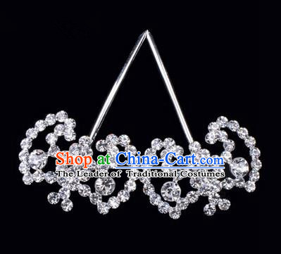 Chinese Ancient Peking Opera Hair Accessories Young Lady Bat Headwear, Traditional Chinese Beijing Opera Head Ornaments Hua Tan White Crystal Hairpins