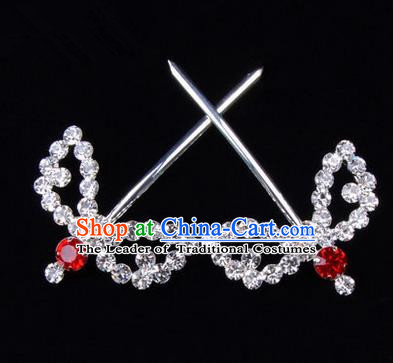 Chinese Ancient Peking Opera Hair Accessories Young Lady Headwear, Traditional Chinese Beijing Opera Head Ornaments Hua Tan Red Crystal Willow Leaf Hairpins