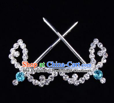 Chinese Ancient Peking Opera Hair Accessories Young Lady Headwear, Traditional Chinese Beijing Opera Head Ornaments Hua Tan Blue Crystal Willow Leaf Hairpins