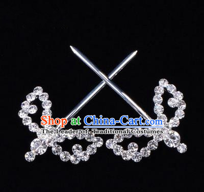 Chinese Ancient Peking Opera Hair Accessories Young Lady Headwear, Traditional Chinese Beijing Opera Head Ornaments Hua Tan White Crystal Willow Leaf Hairpins