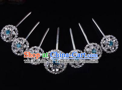 Chinese Ancient Peking Opera Hair Accessories Young Lady Headwear, Traditional Chinese Beijing Opera Head Ornaments Hua Tan Blue Crystal Hairpins Complete Set
